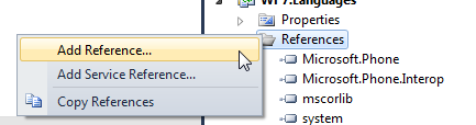Add Reference context menu on right click