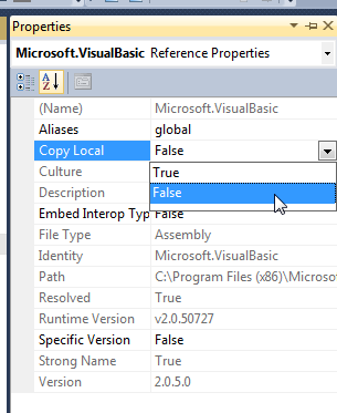 "Setting ""Copy Local"" to false"