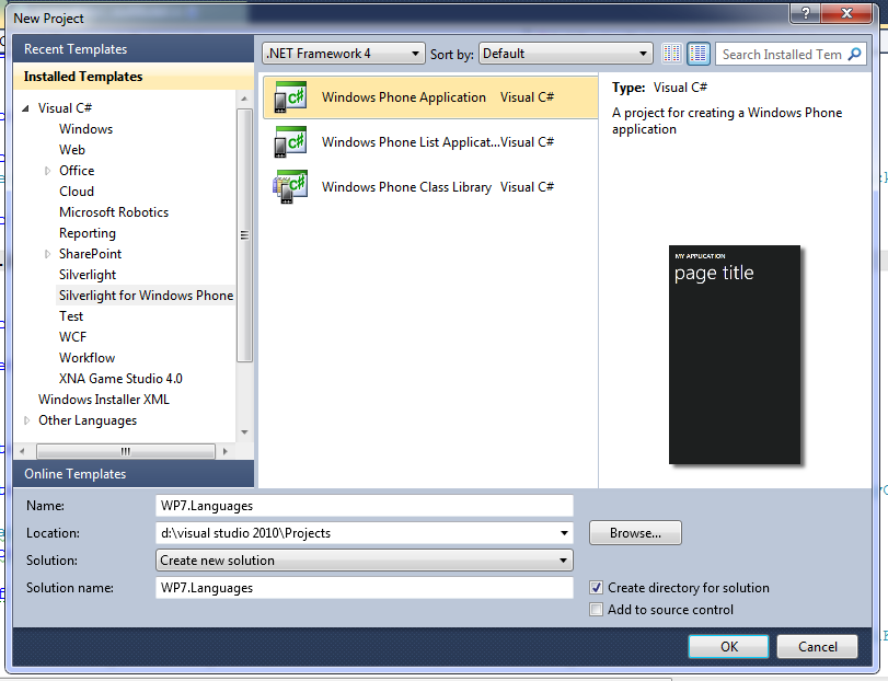 Create new C# WP7 app